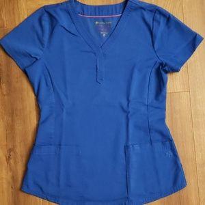 Blue scrub top XS